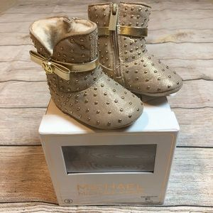 NWT Michael Kors Baby Grace Tiff Gold Booties Sz 3